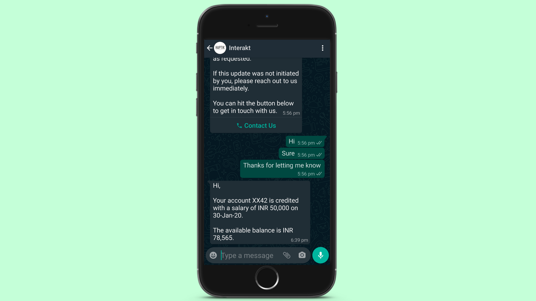 Personal Finance Update for WhatsApp Business Notification