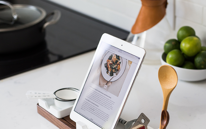 Kitchen counter with tablet showing a recipe