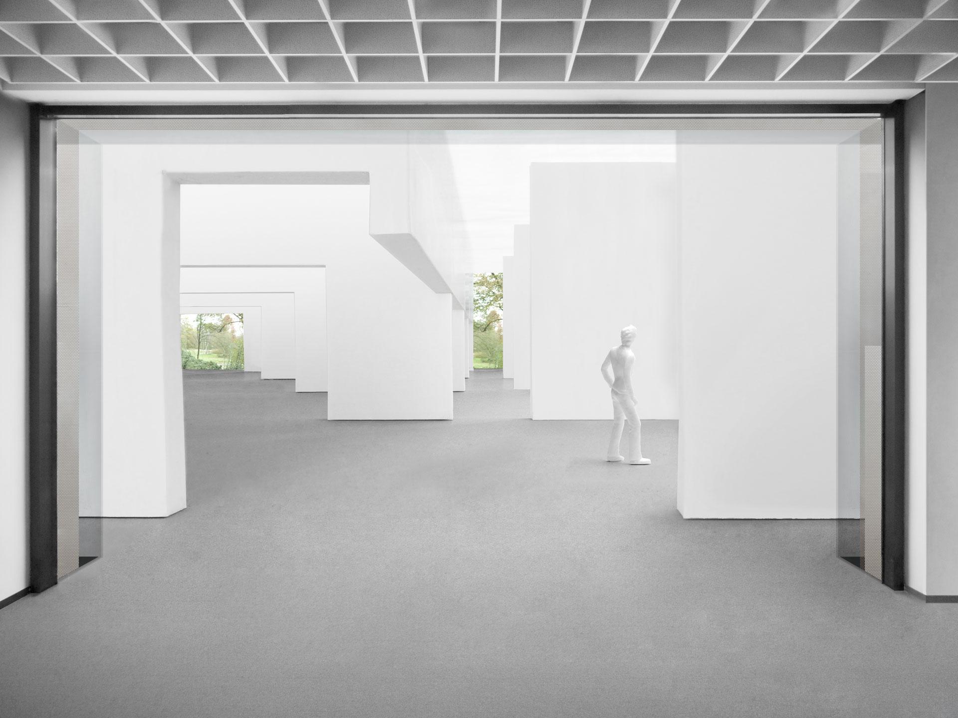 Wandscheiben bilden die Ausstellungsräume und werden von den Achsen durchbrochen
