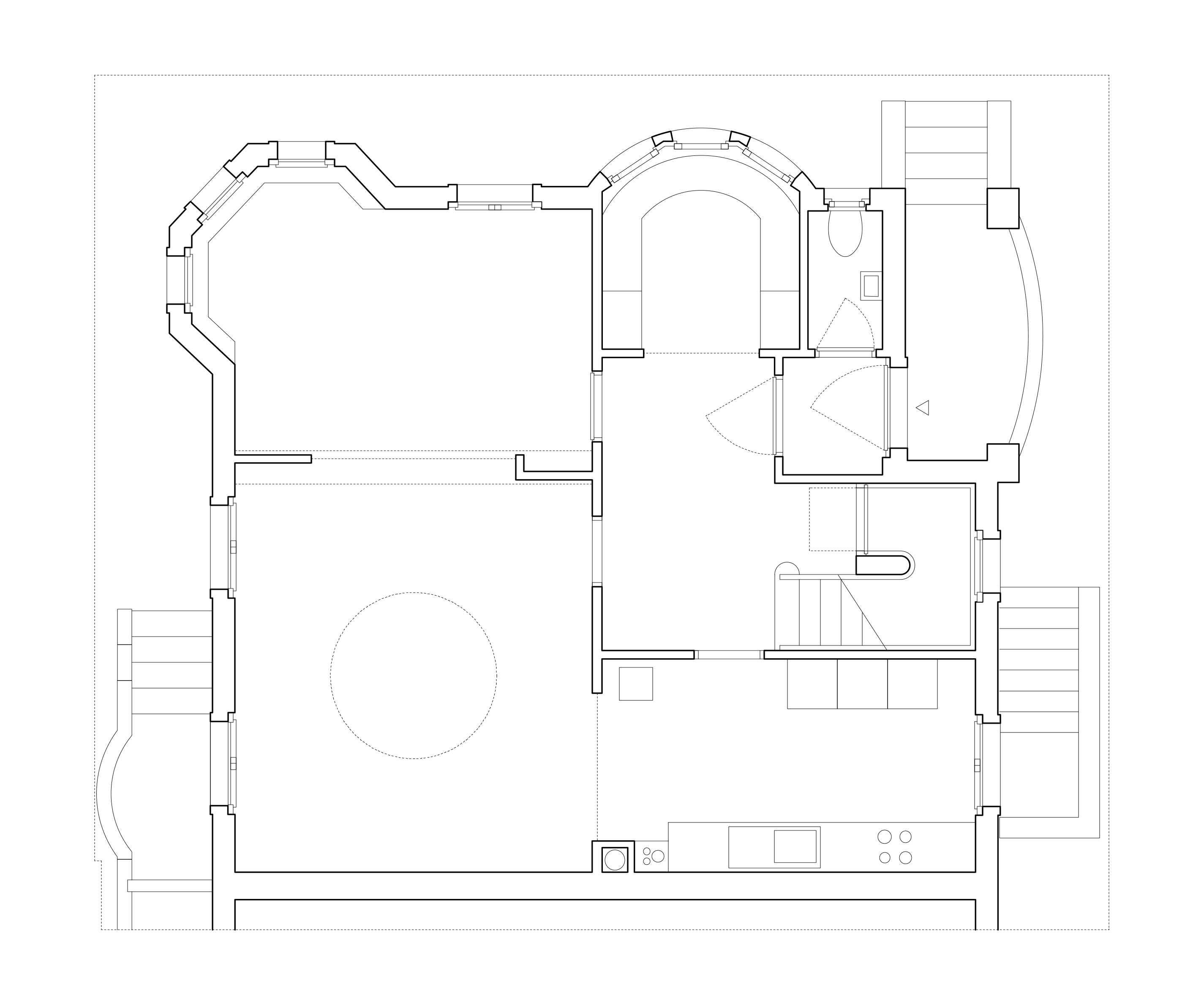 Der Erdgeschossgrundriss mit einer radialen raumabfolge