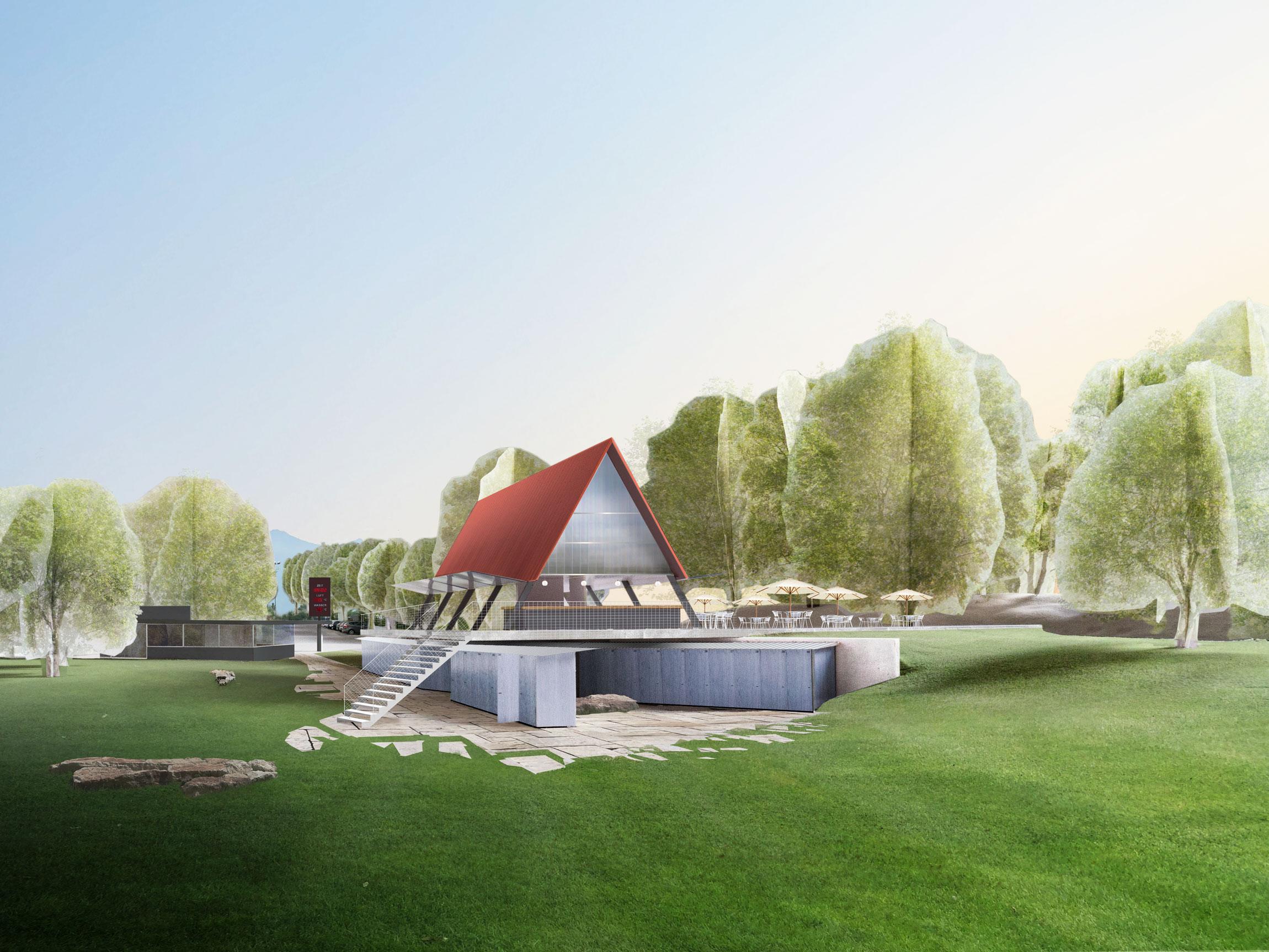 Das Rote Dach erinnert an ein Zelt