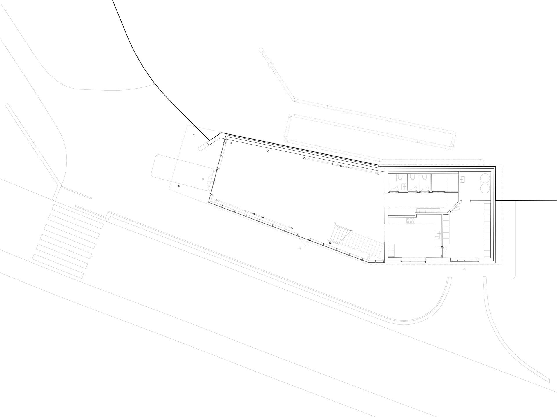Erdgeschossgrundriss mit dem Hauptraum für die Kinder sowie die angrenzenden Nebenräume