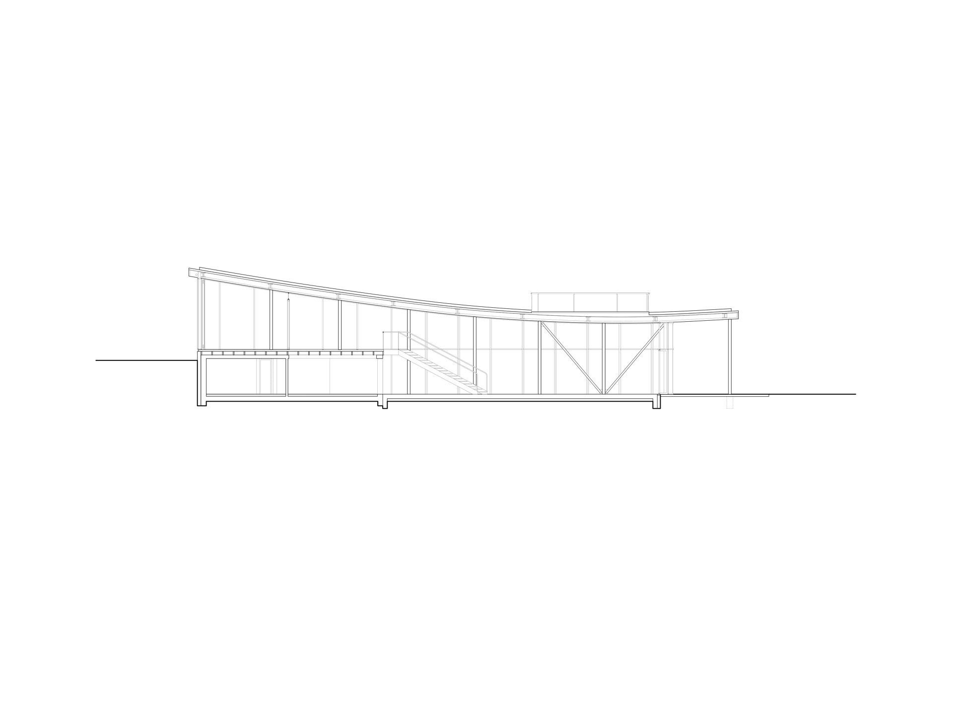 Längsschnitt den Hauptraum mit Gartenanbindung im Erdgeschoss wie auch im Obergeschoss