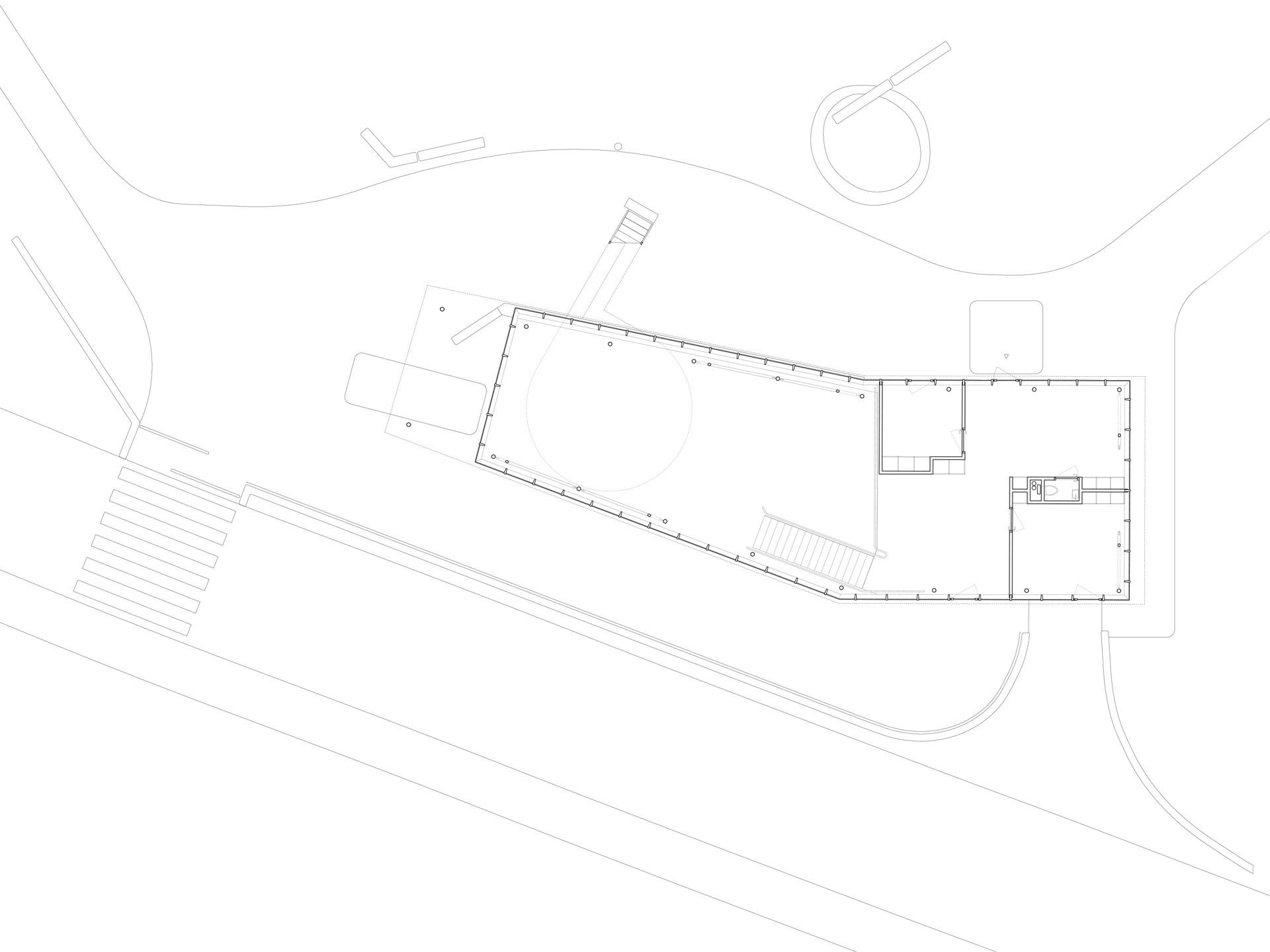 Obergeschossgrundriss mit der Weiterentwicklung des Hauptraumes sowie dem Spielgruppenraum und dem Büro