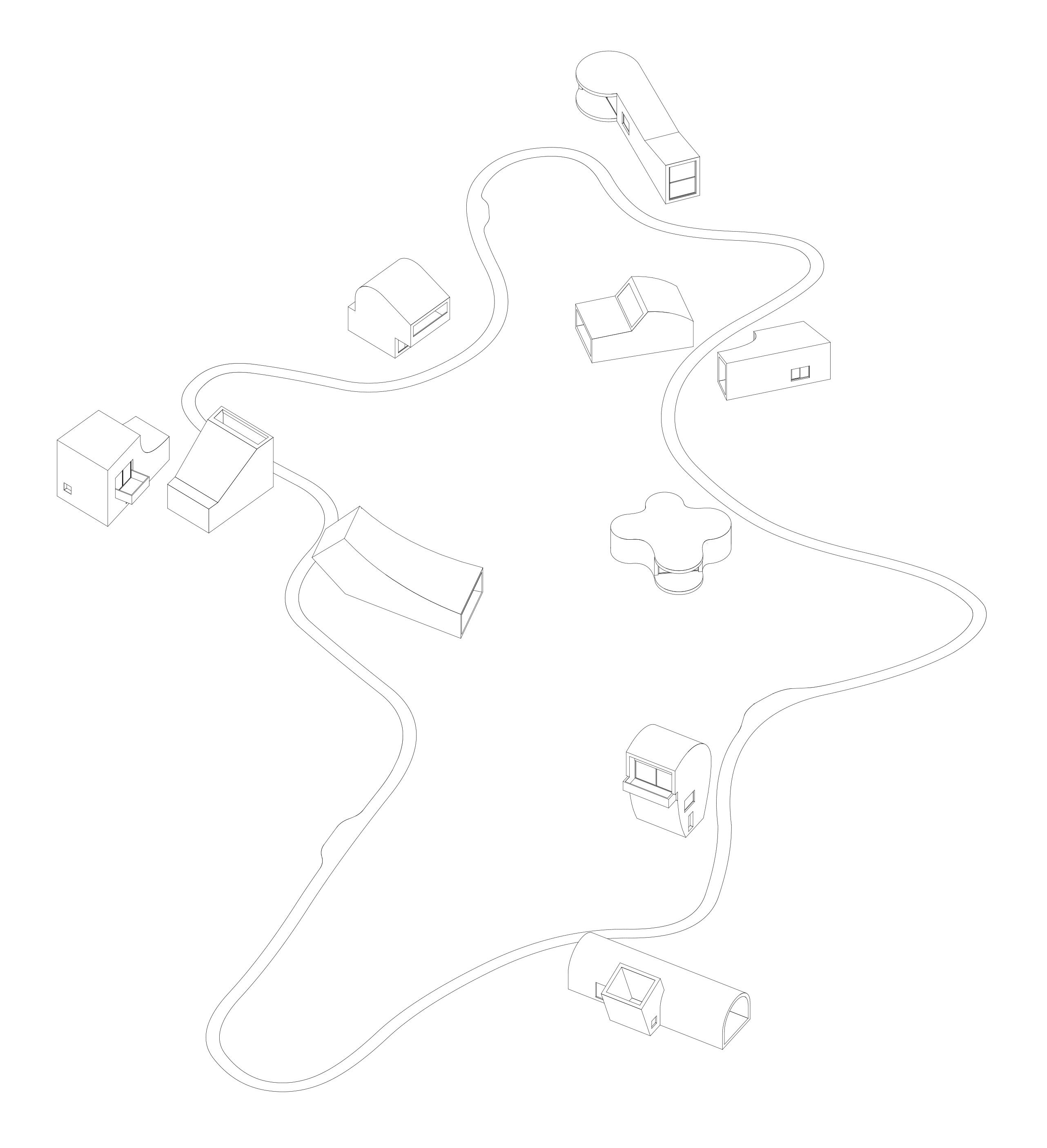 Axonometrie der neuen Wegführung und der neuen Suiten
