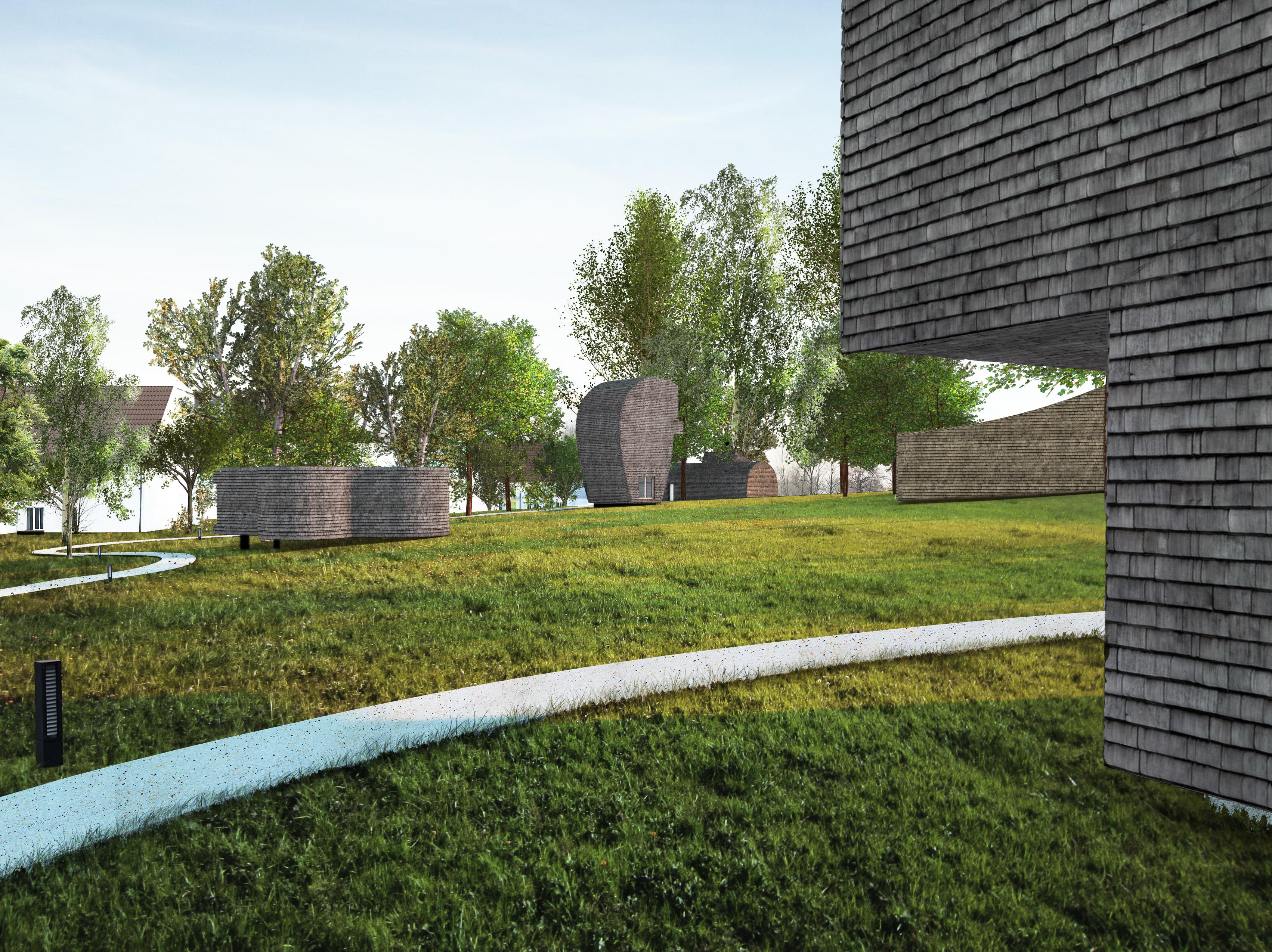 Die neue Parklandschaft mit Suiten verkleidet in Holzschindeln