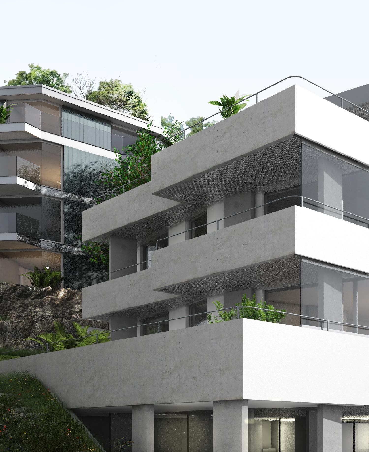 Terrassen des Haus Sued mit dem dahinterliegenden Haus Nord