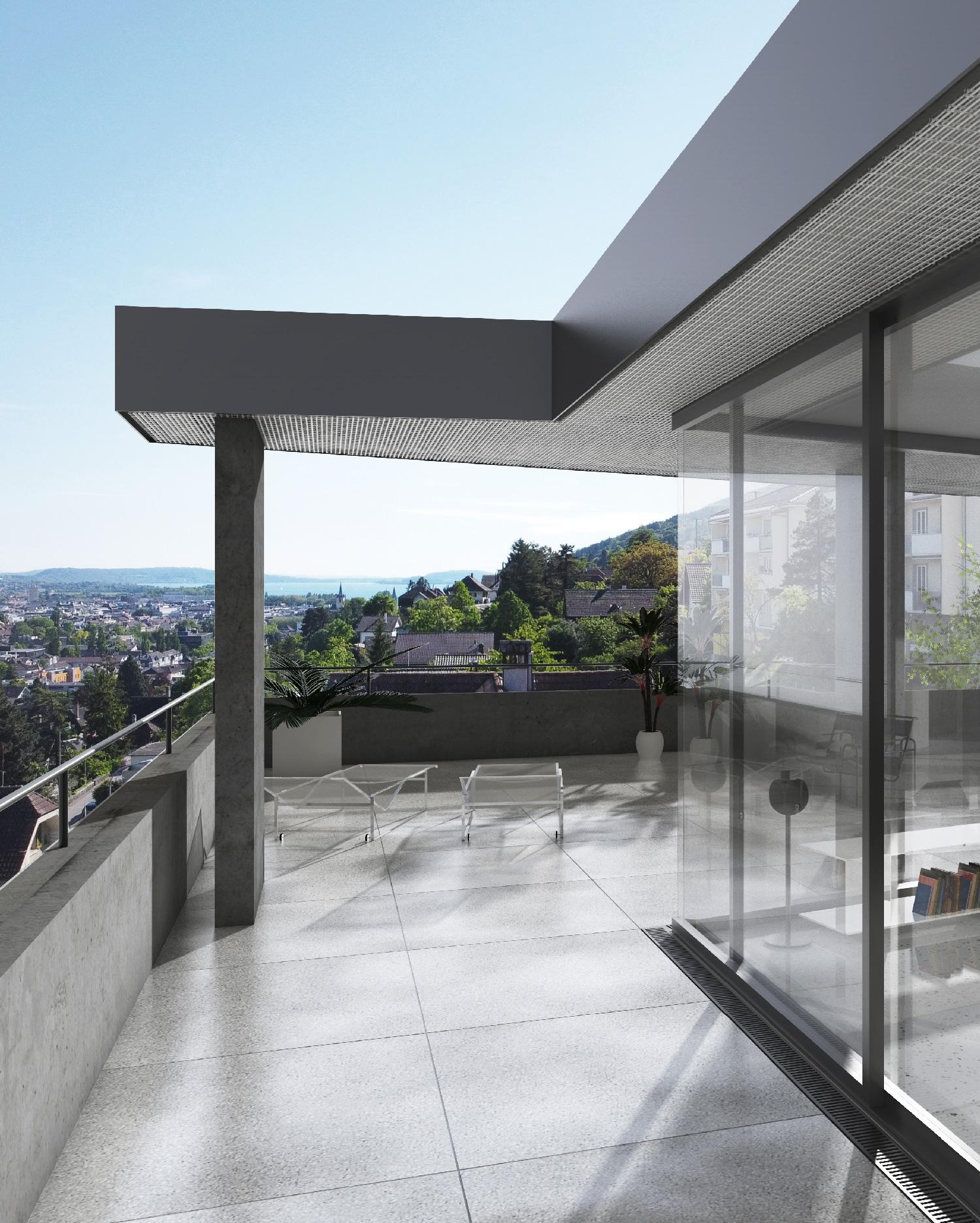 Terrasse der Attikawohnung mit Sicht auf den Bielersee