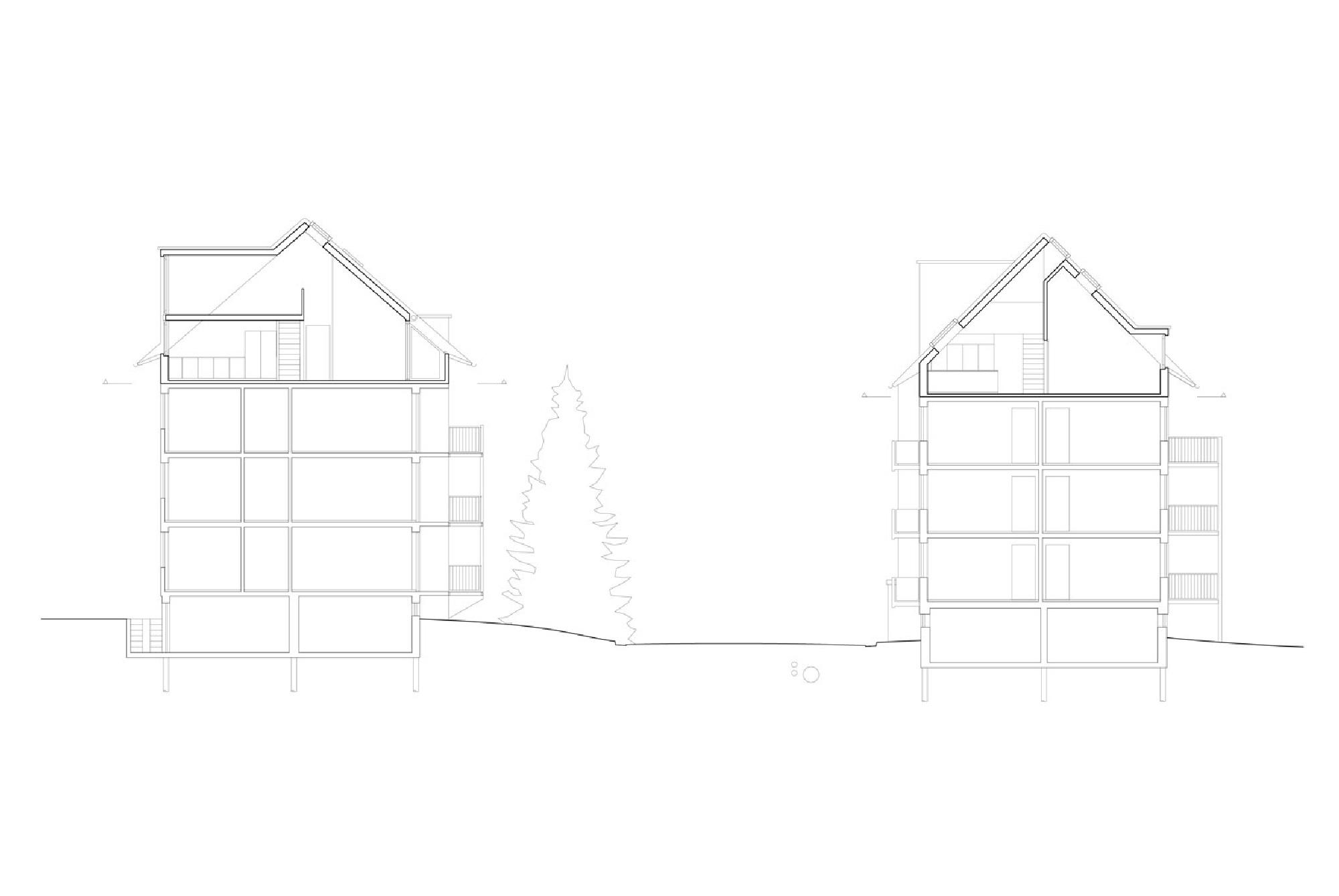 Querschnitt durch beide Zeilenbaute mit den neuen Dachgeschossen