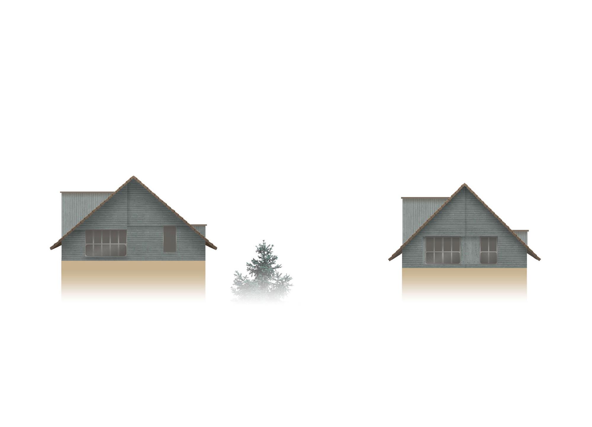 Dunkelgrün lasiertes Holz lässt das Neue vom Alten unterscheiden