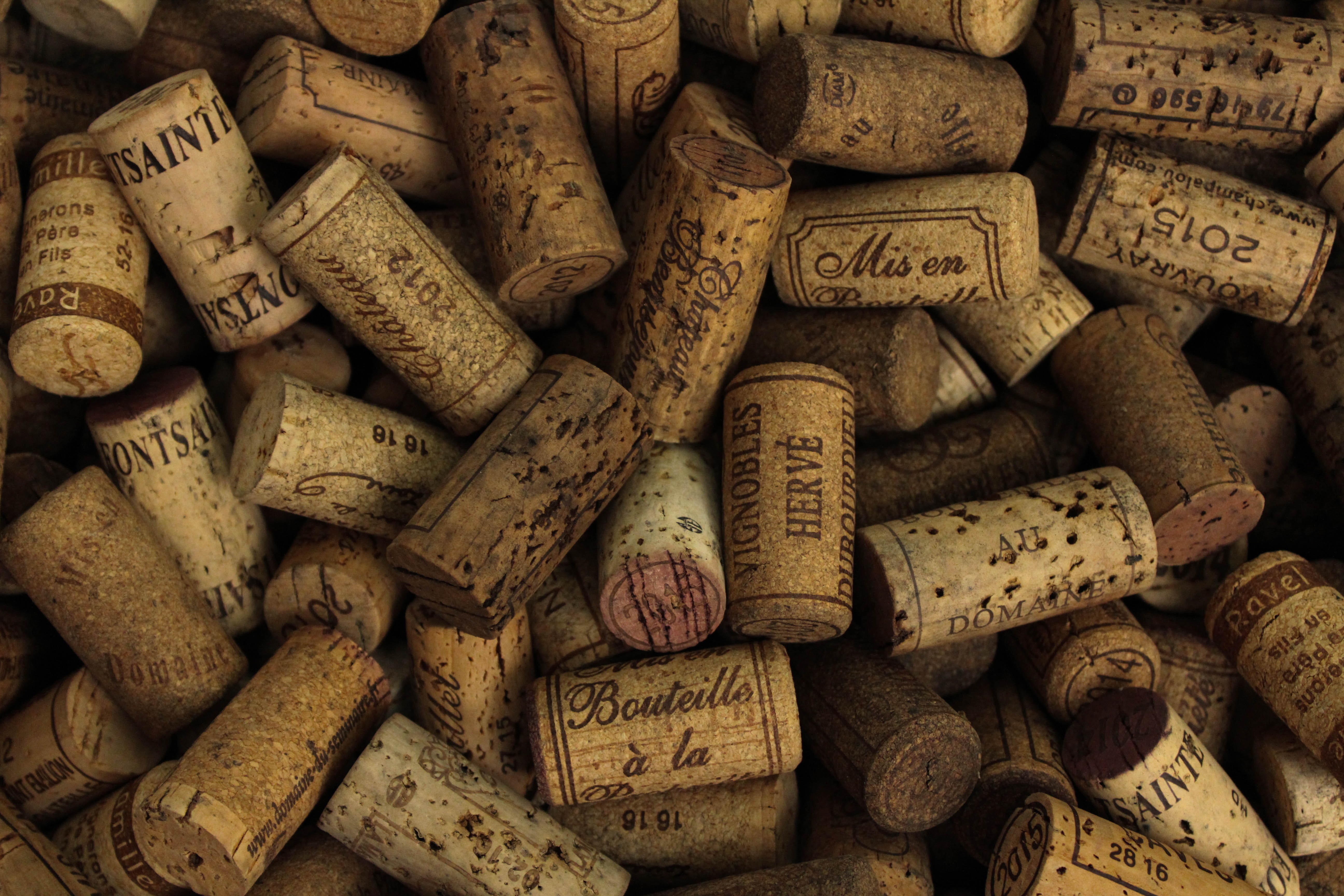 A pile of used barrel corks. Good closures help limit oxidation in the bottle.