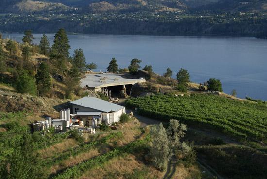Pentâge winey and vineyards overlooking Lake Skaha near Penticton, BC
