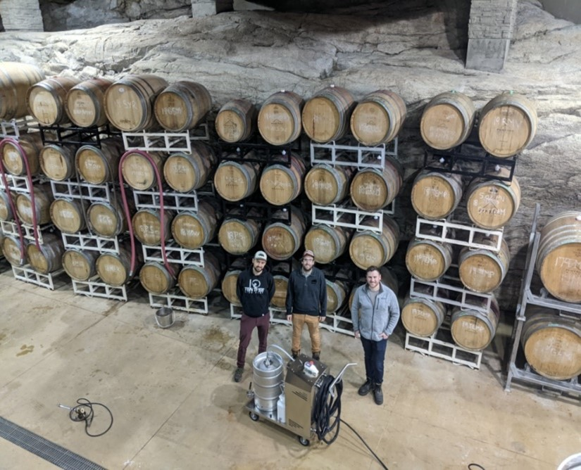 BarrelWise crew and their system in Pentage winery's natural rock barrel cellar.