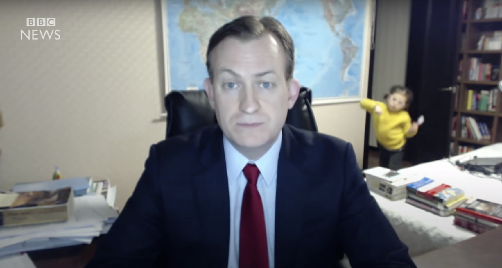 Children have interrupted remote work time as seen in this news clip from a British anchor.