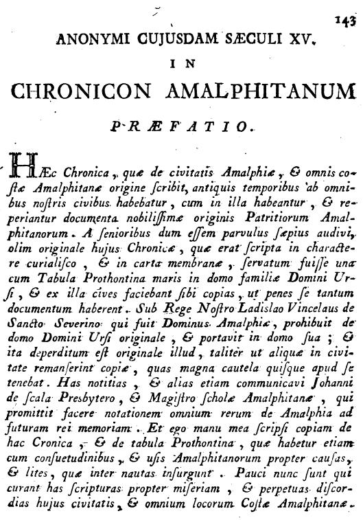 Pelliccia, p. 143, Cronicon Amalphitanum