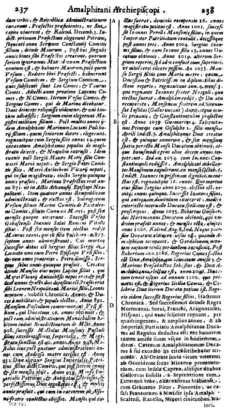 Ughelli, Cronaca Amalphitana, p. 237