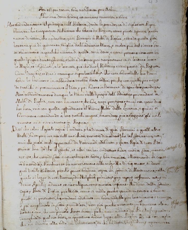 Mannelli, p. 45v, su Amalfi le origini e Molpa