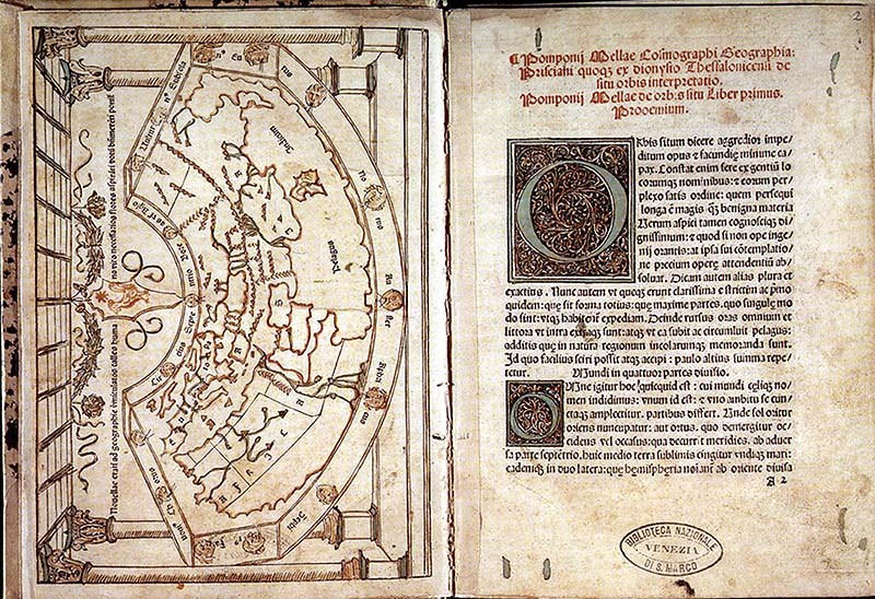 Pomponio Mela mappamondo xilografia veneziana 1482