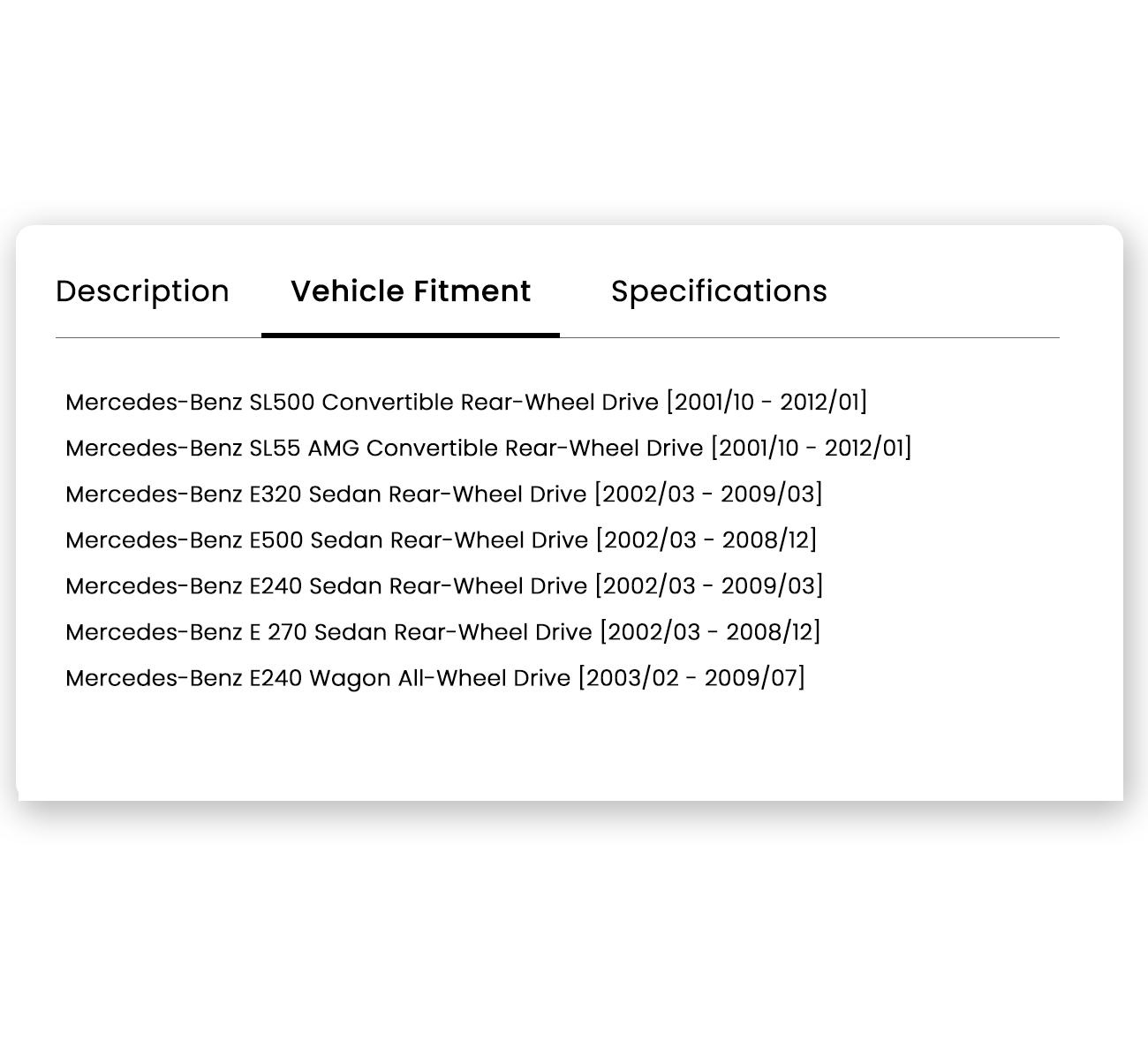 Auto Parts Vehicle Compatibility part application table Shopify