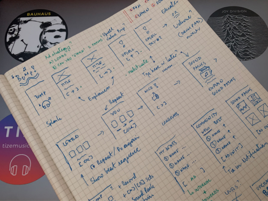Sketchbook with design annotations