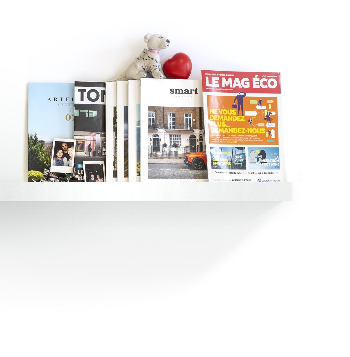 Une étagère avec des magazines bien disposés