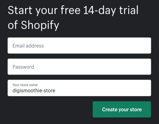 Enrolling in Shopify Free Trial Step 2 – Setting password and store name