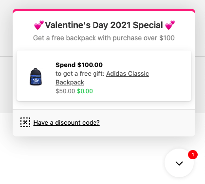 Example of Valentine's Day campaign set in Gift Box app