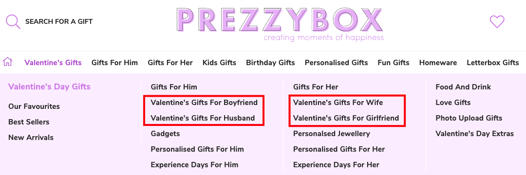 Featured Valentine Day's categories on Prezzybox store