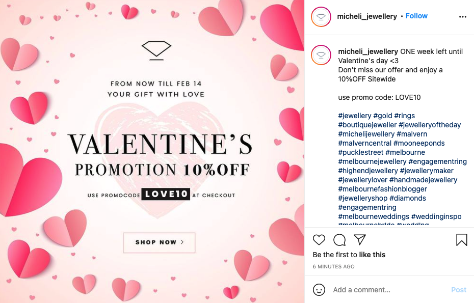 Example of Valentine's discount on Micheli Jewellery store