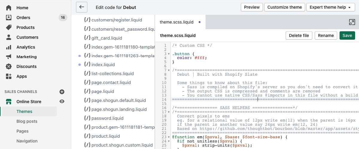 Adding custom CSS via theme.scss.liquid file