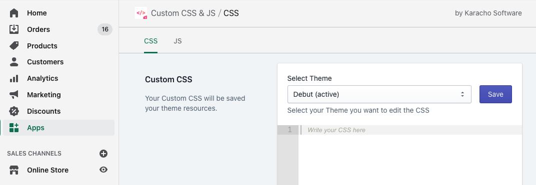 Adding custom CSS via Custom CSS & JS app