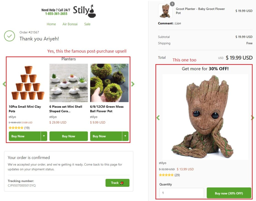 Example of the post-purchase upsell on Shopify