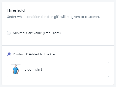 Setting up the gift offer in the Gift Box admin
