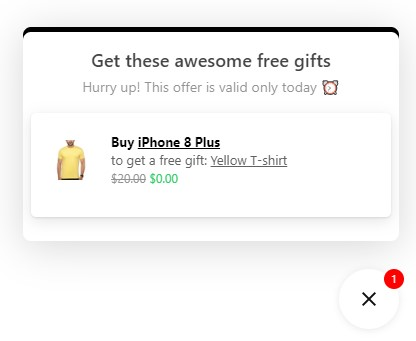 Gift Box pop-up showing the free gift when a specific product is purchased