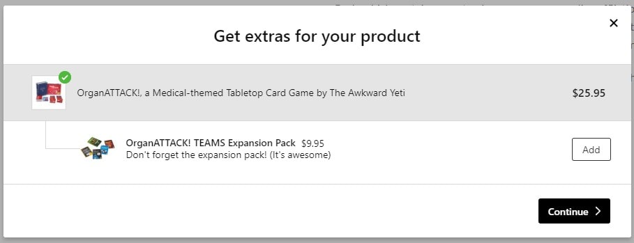 Offering expansion pack for a card game is a great cross-sell (via theAwkwardStore.com)