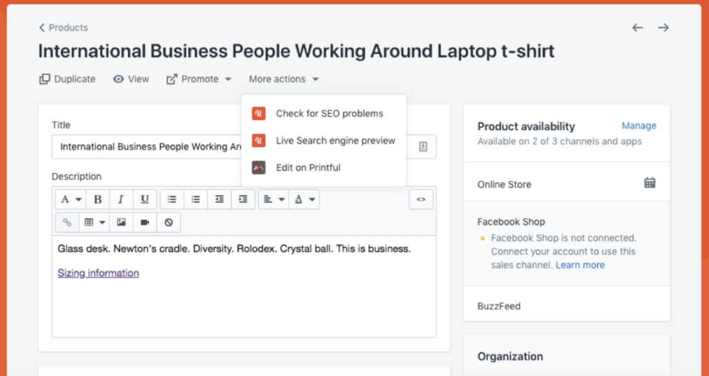 Screenshot of the Plug in SEO integration with Shopify products