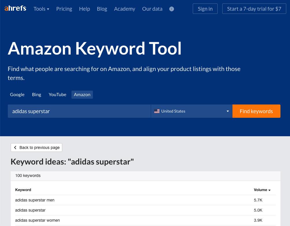 """Keyword ideas for """"adidas superstar"""" in Amazon Keyword Tool by ahrefs"""