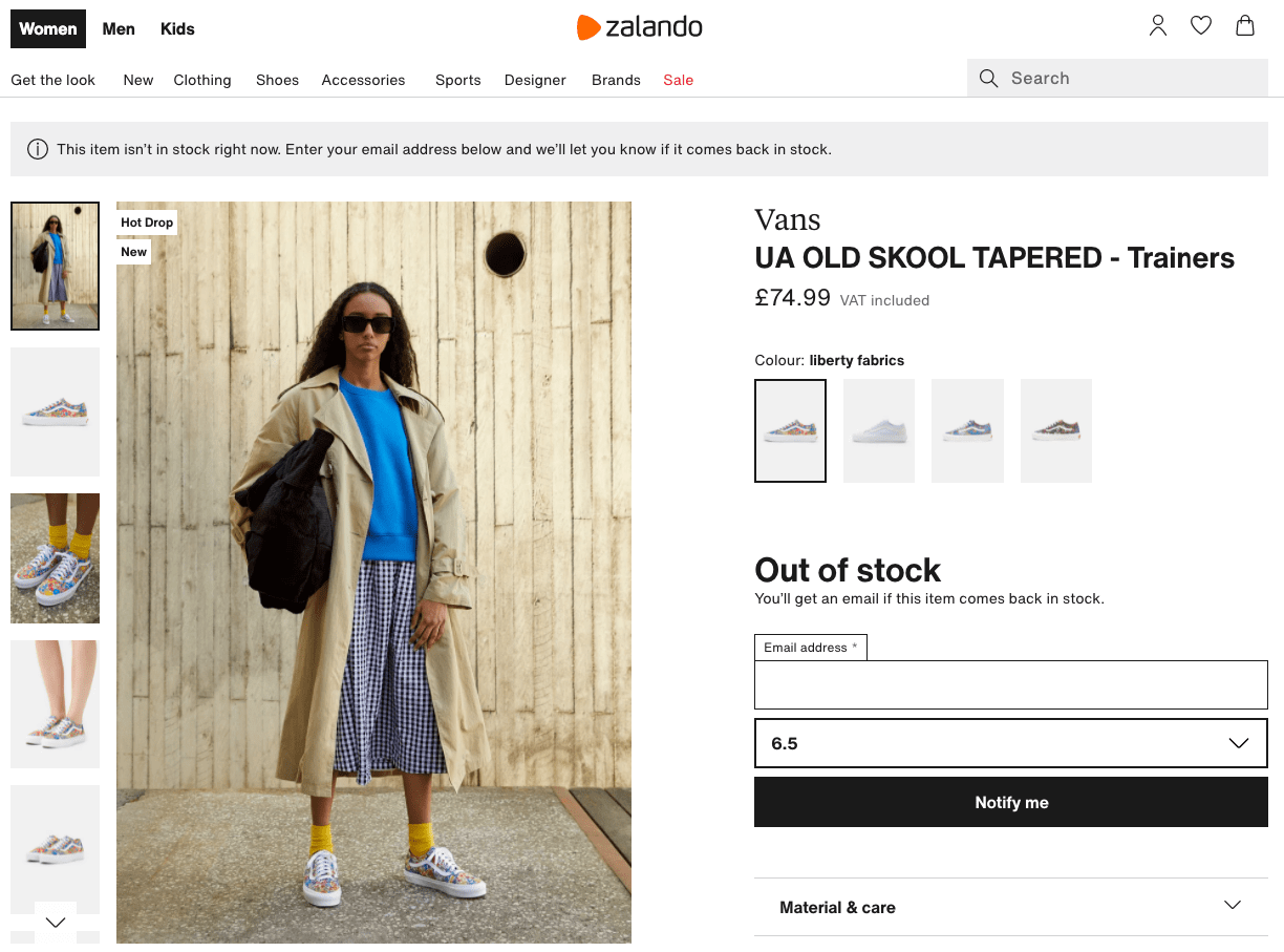 "Example of the ""back in stock"" notification on Zalando store"