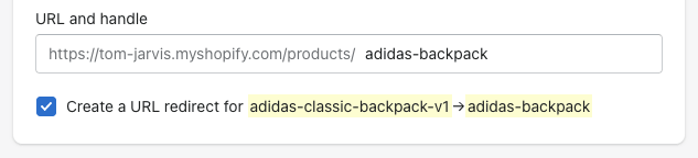 Editing page URL (slug) and redirect in Shopify product admin