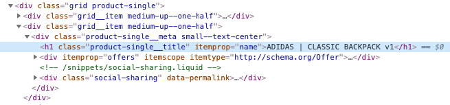 Example of the H1 element in the HTML code