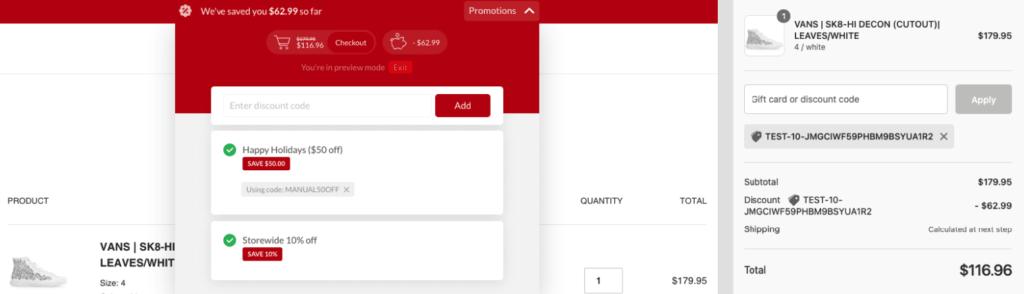 Example of combined discount codes via Stackable Discounts app