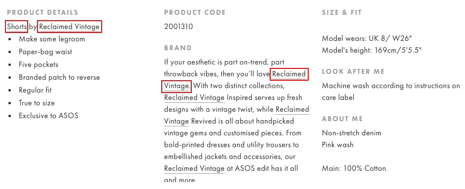 Great example of internal linking strategy by Asos