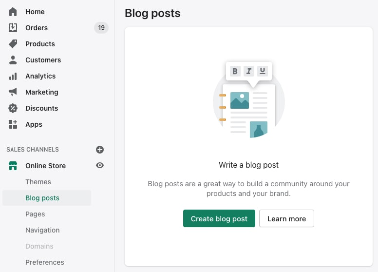 Creating a new blog post in Shopify