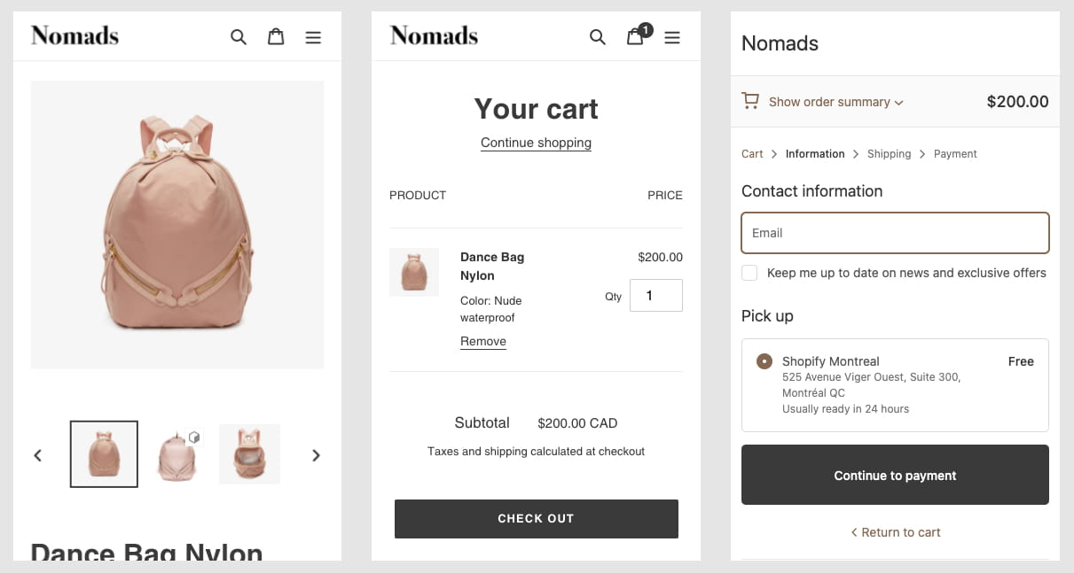 Mobile version of the Shopify free theme Debut