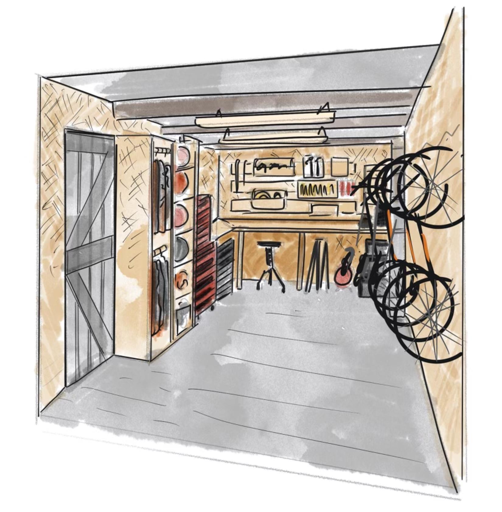 A mockup design of a small garage