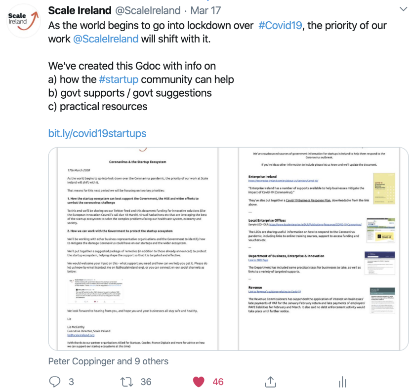Sharing & crowdsourcing Covid-19 updates with the startup community