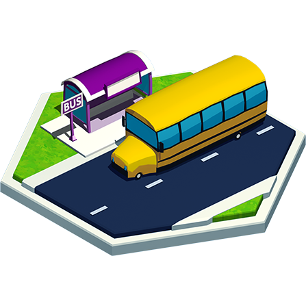 Isometric view of the school bus in the city of Madam Word.