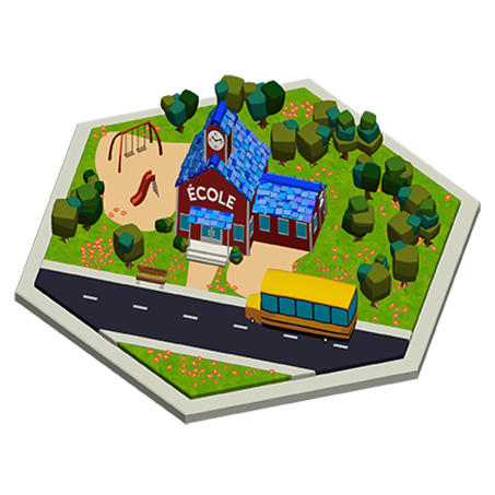 Isometric view of the school in Madam Word's city.