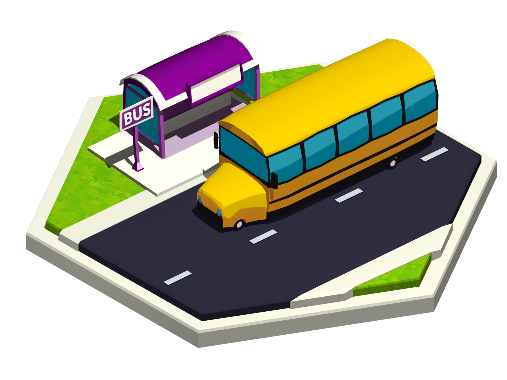 Vue isométrique de l'autobus scolaire dans la ville de Madame Mo.