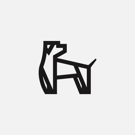 A bold, modern dog icon